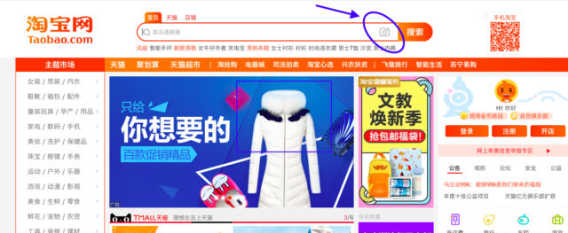 Taobao's image search bar