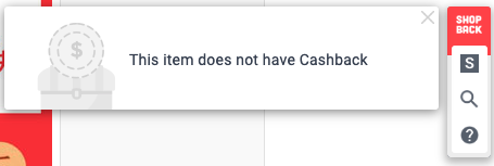cashback is not available on Taobao