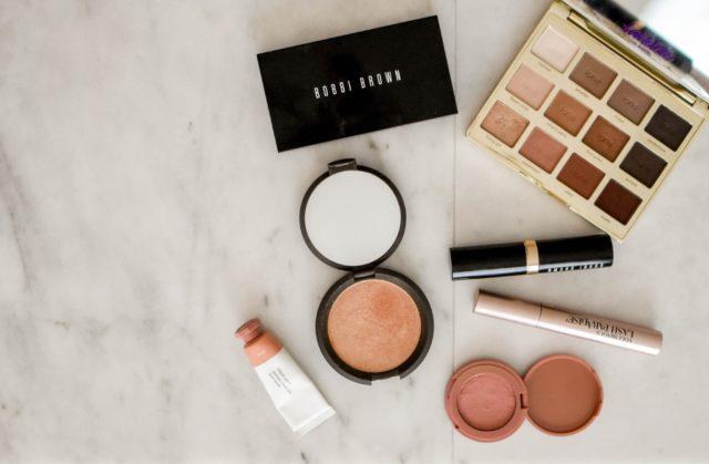 makeup on table