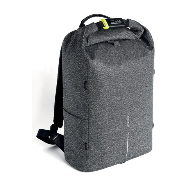 grey backpack with number lock