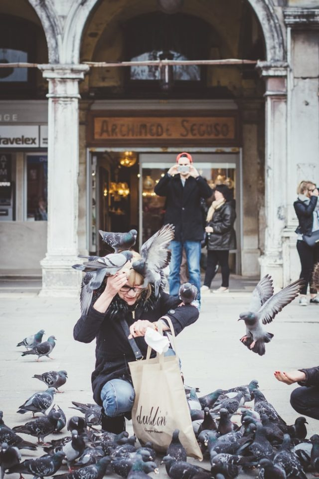 woman flocked by pigeons