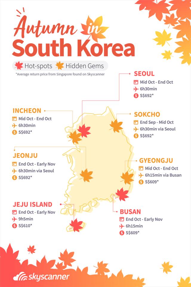 infographic on autumn foliage in Korea