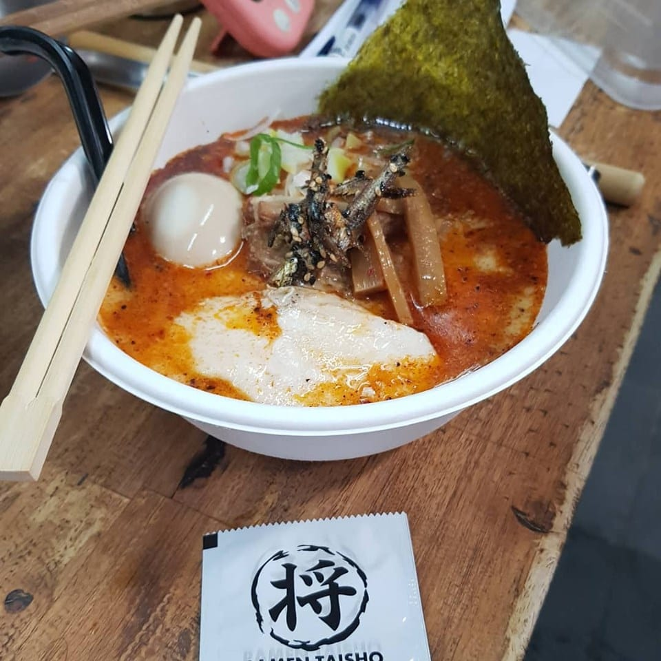 spicy japanese ramen noodles with egg and seaweed