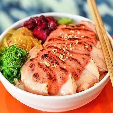 Japanese salmon rice bowl with mentaiko