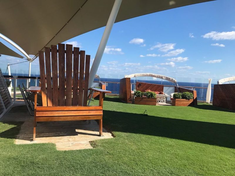 private cabana lounging on a cruise ship