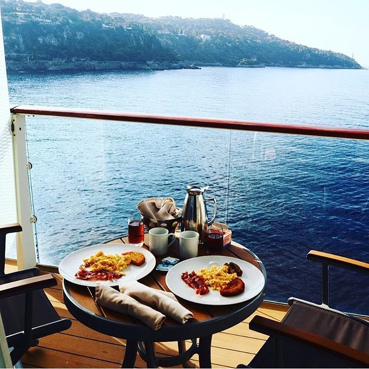 breakfast on the veranda with a sea view