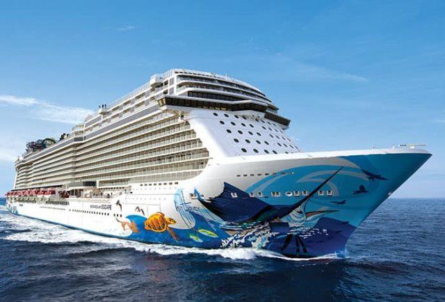 Norwegian cruise ship at sea