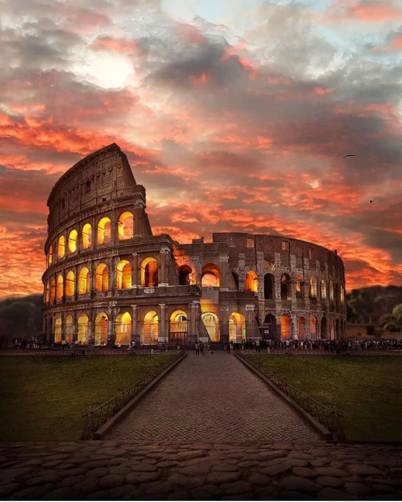 view of the Colosseum during sunset