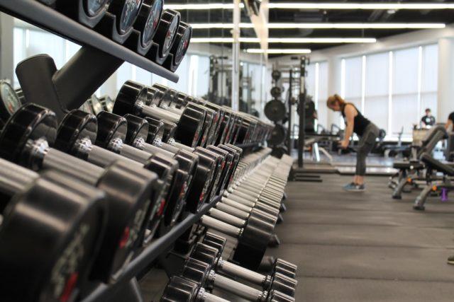 dumbbells at a gym