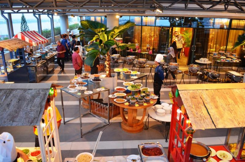 Cafe at Hotel with buffet food display