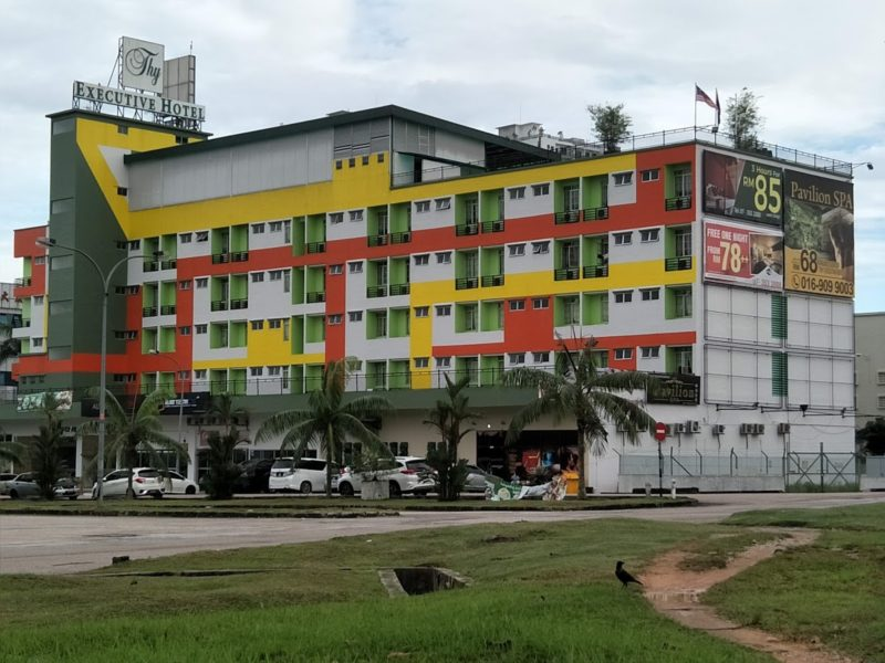 colourful red yellow and green exterior of hotel