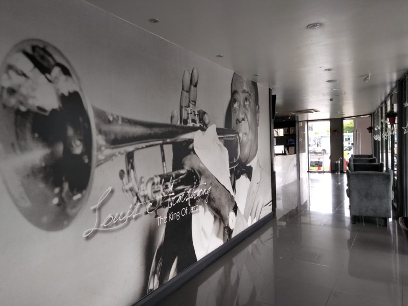 Wall mural of Louis Armstrong at lobby