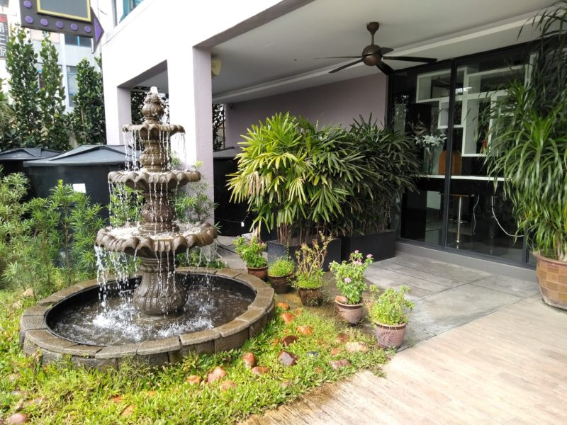 Water feature at outdoor patio of hotel