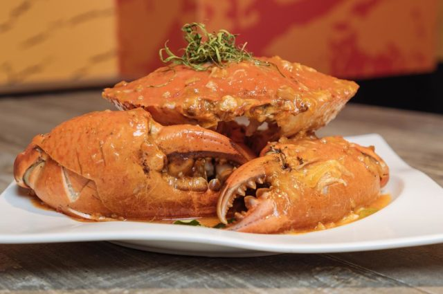chilli crab on a plate