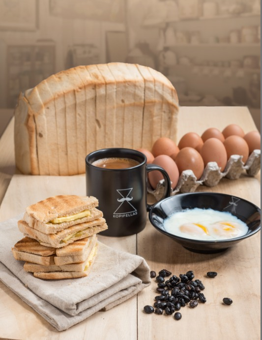 traditional breakfast set with toast coffee and egg