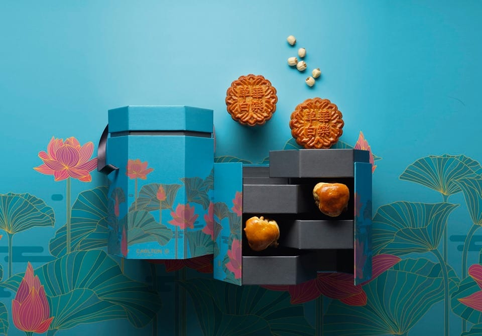 traditional baked mooncakes with blue box