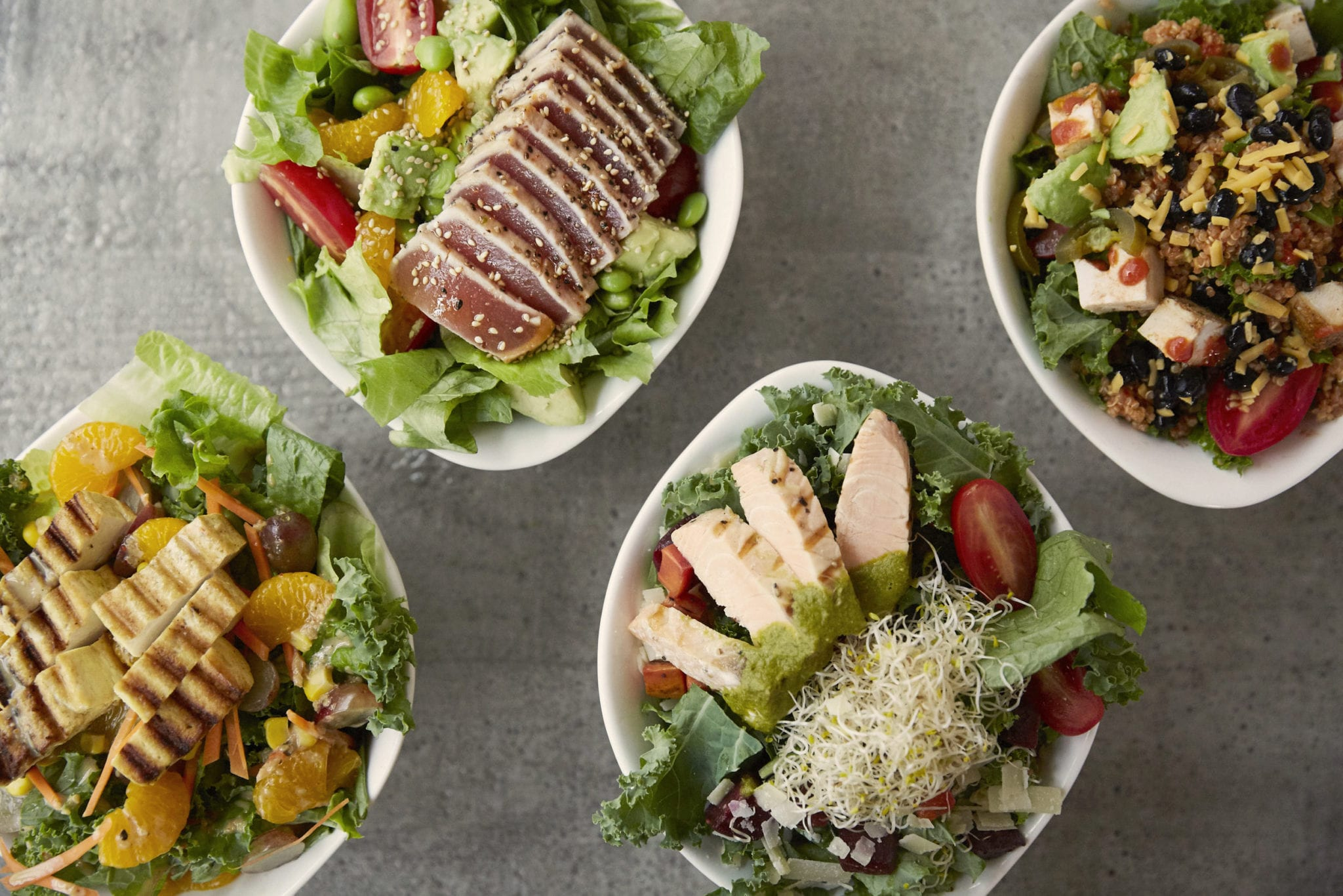 assorted salad bowls