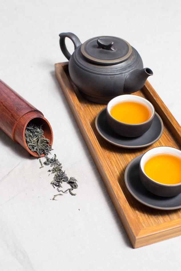 brown ceramic tea set