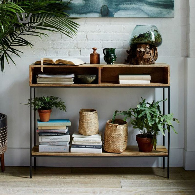 wooden storage rack with metal stands