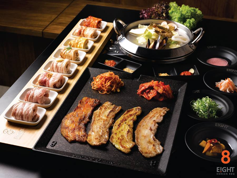 eight flavours of pork on a korean grill