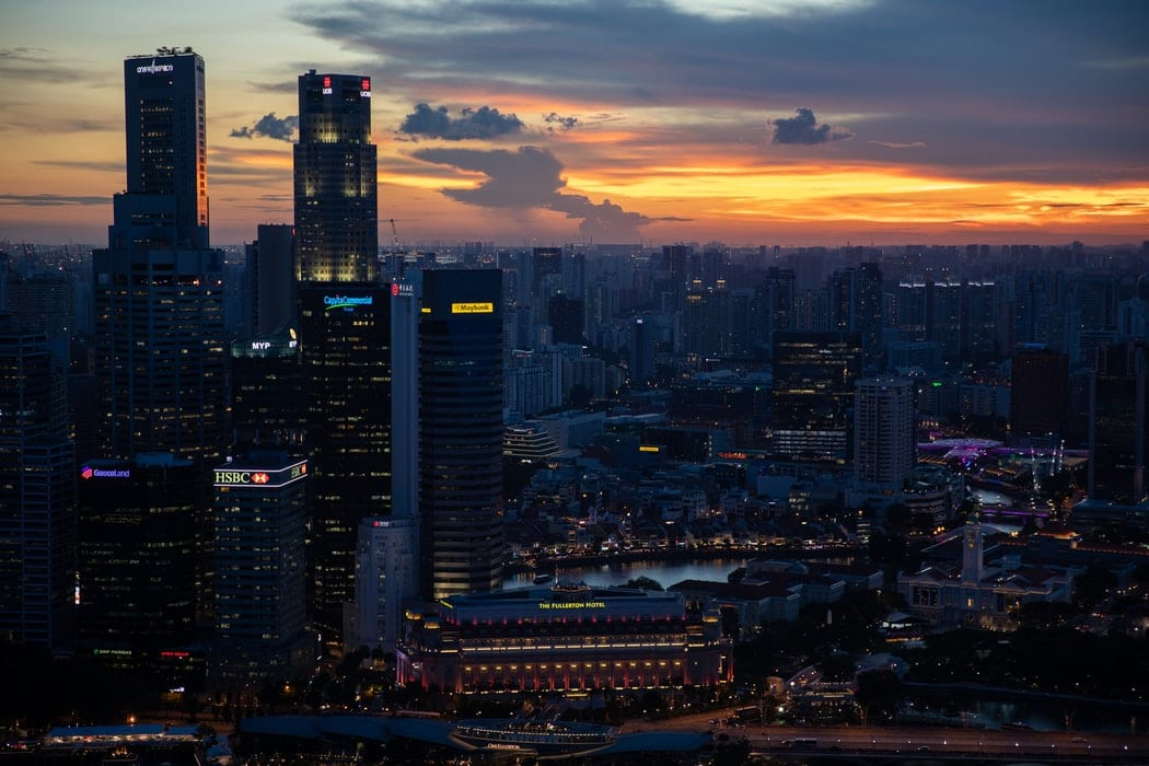 sunset view of Singapore skyline