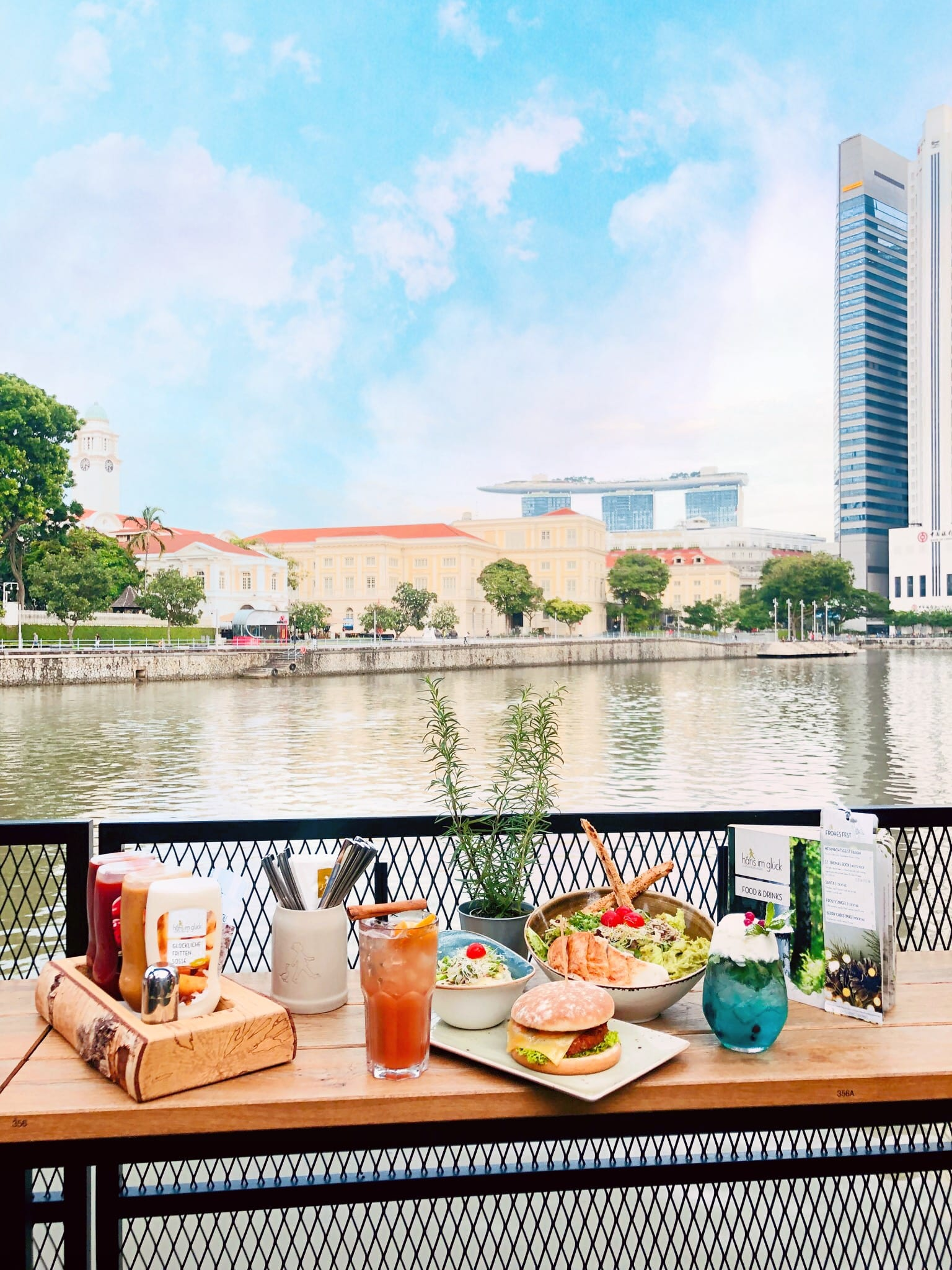 western dishes on table with view of river