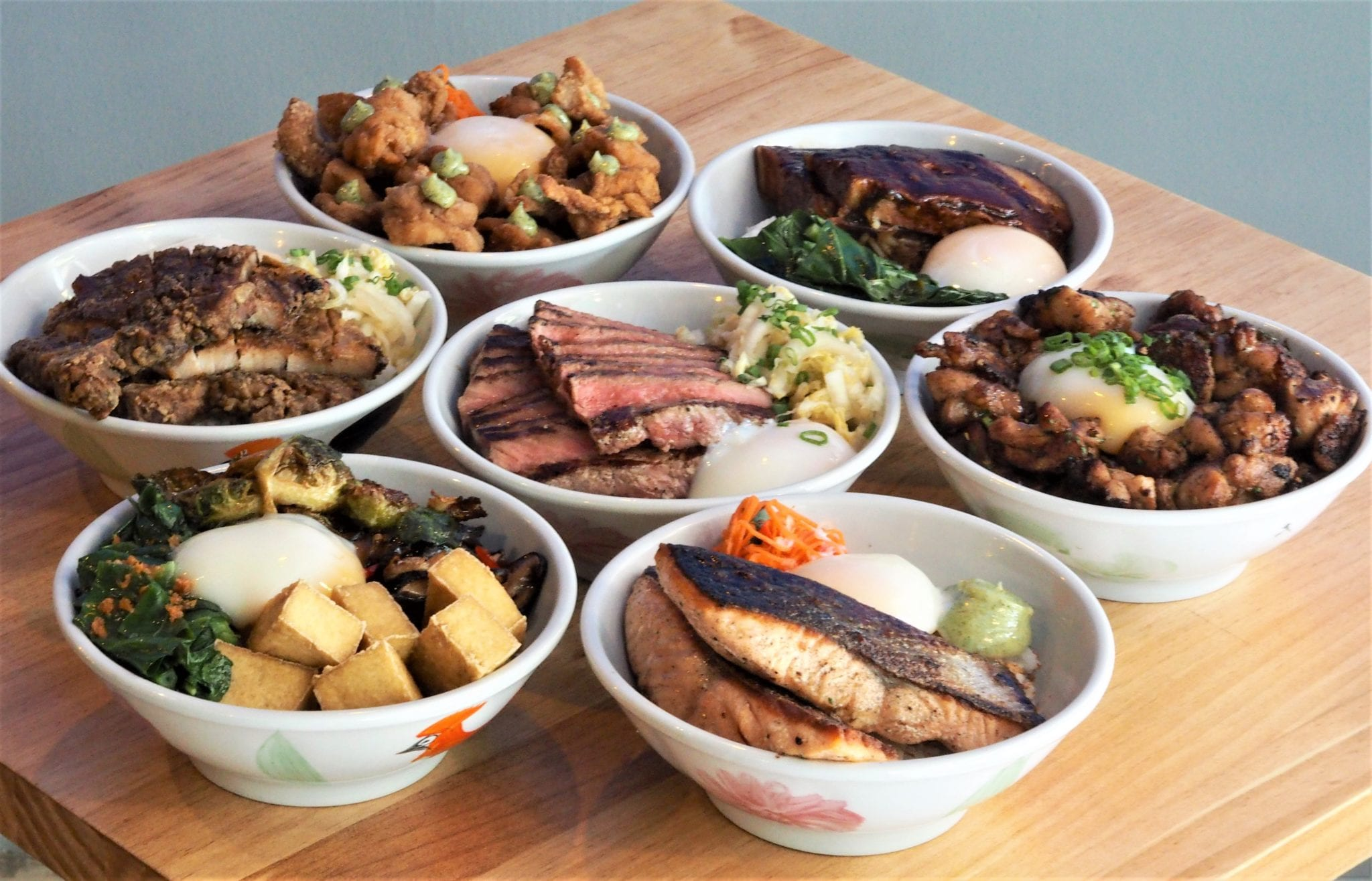 seven Taiwanese style rice bowls