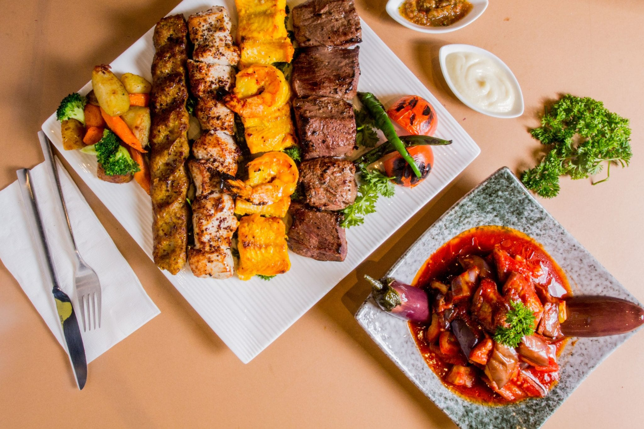 medley of kebab grills and side dishes