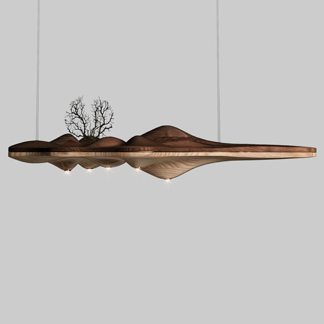 flat two toned wooden wooden lights