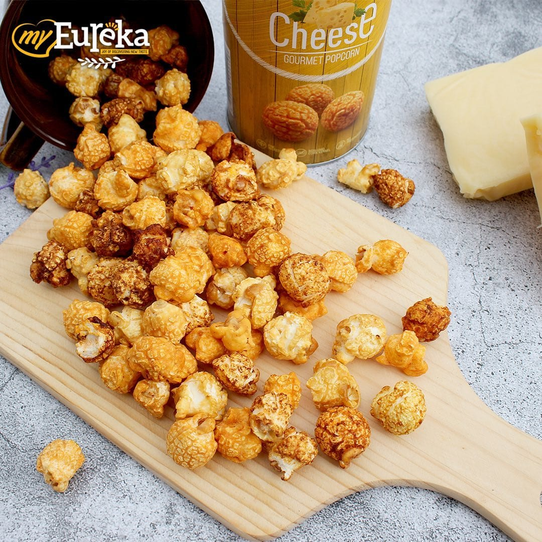 cheese popcorn on a wooden board