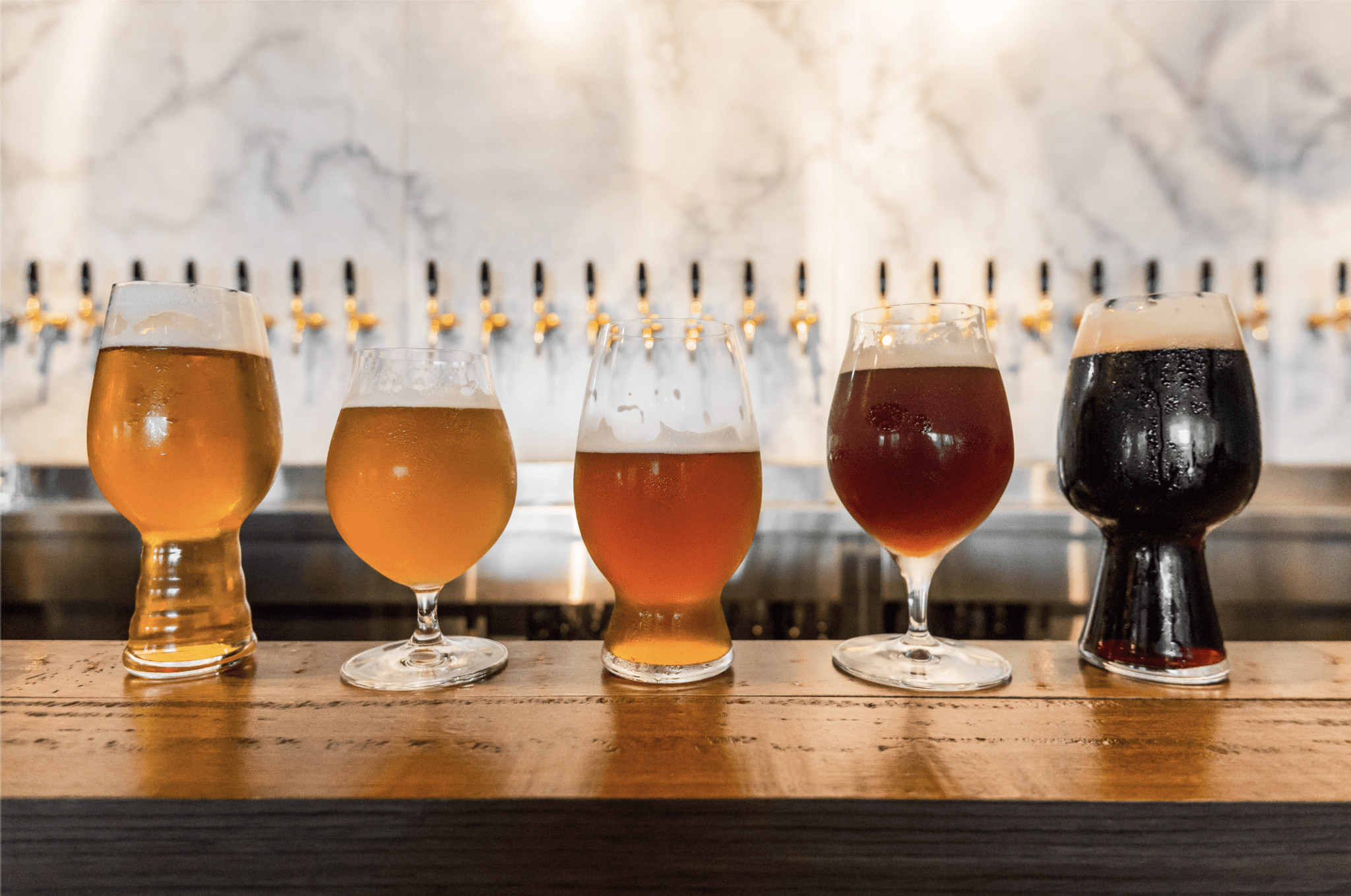 five different kinds of craft beers