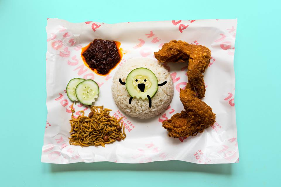 coconut rice with fried chicken