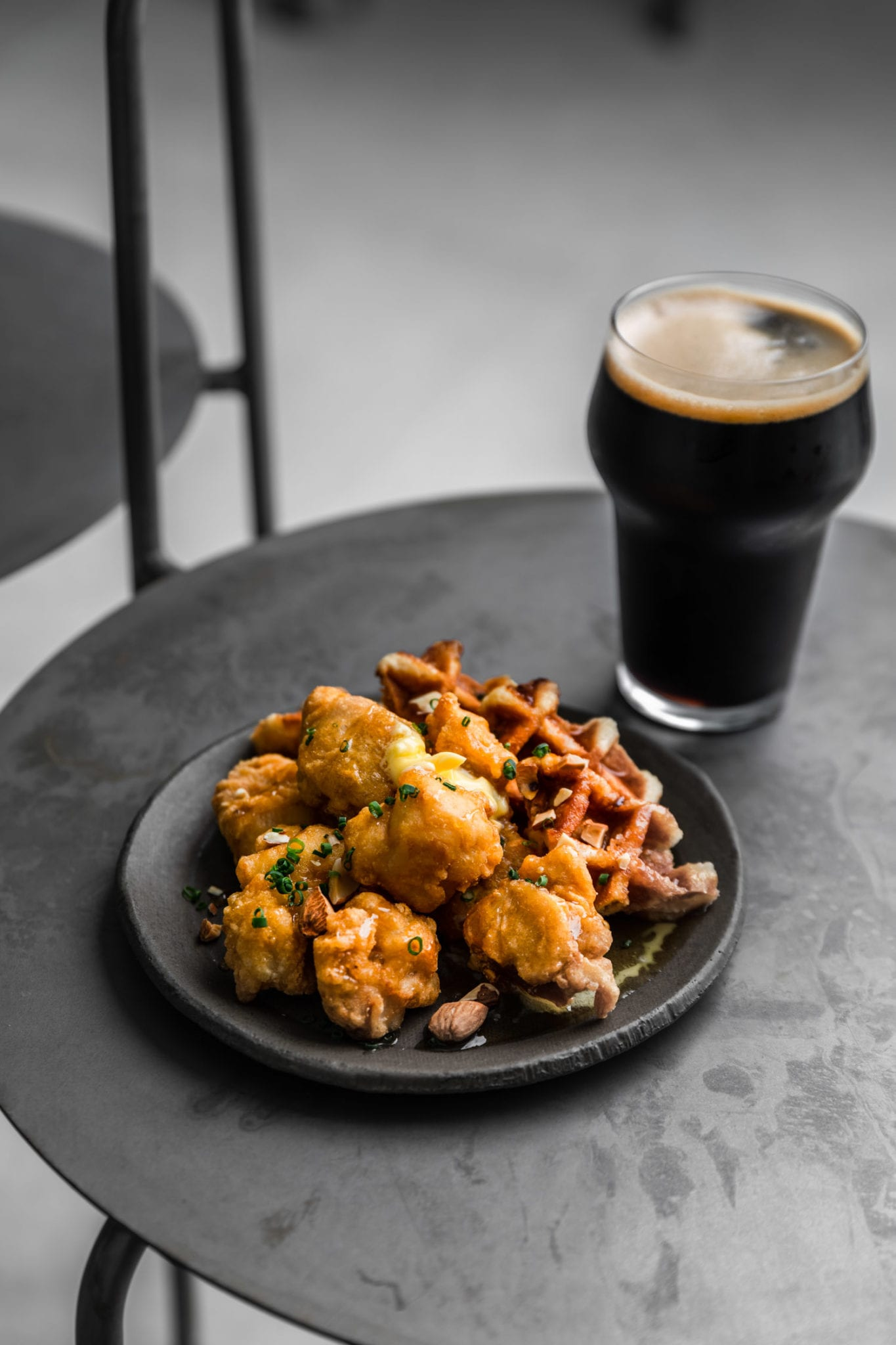 fried chicken and stout beer