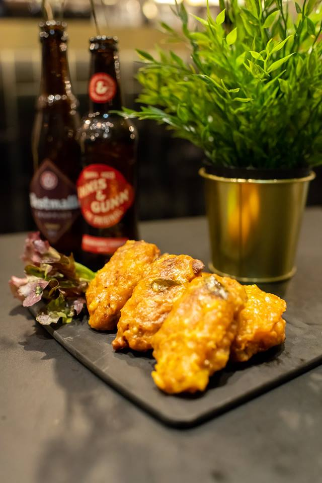 salted egg fried chicken wings and beer