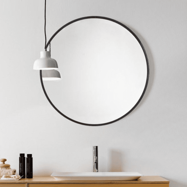 round circle hanging mirror with black frame