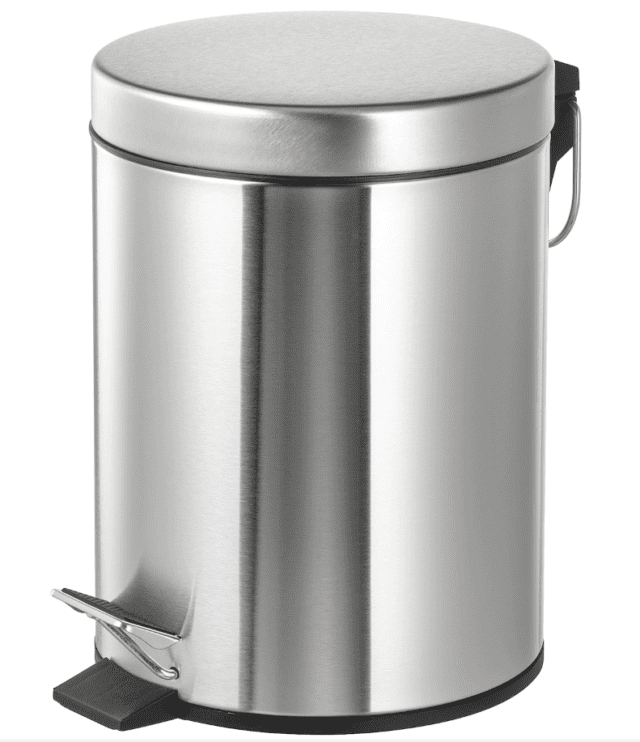 metal bin with step pedal