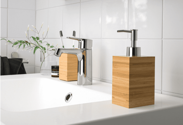 brown bamboo soap dispenser