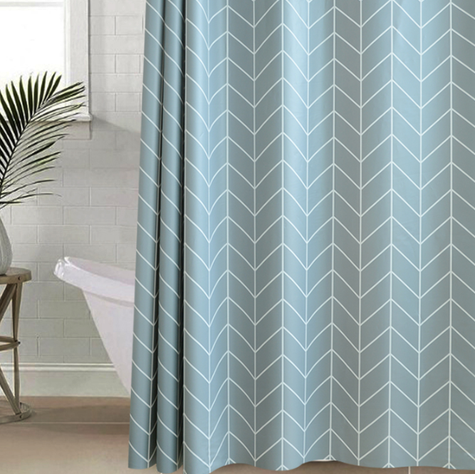 blue and grey shower curtain with white design