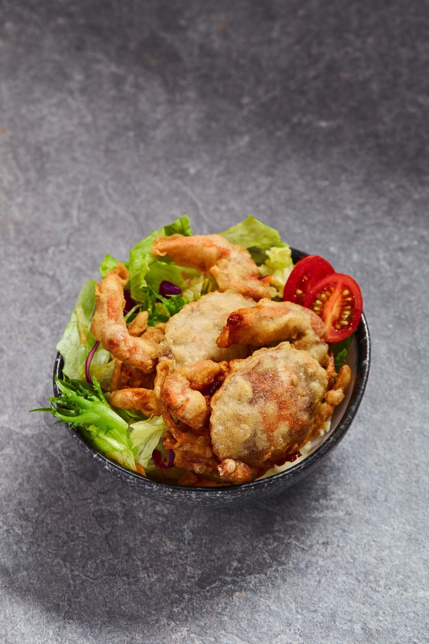 fried soft shell crab rice bowl with lettuce