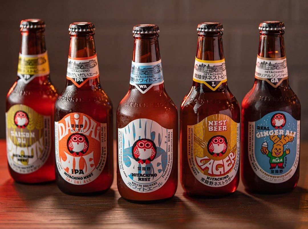 five glass bottles of Japanese beer
