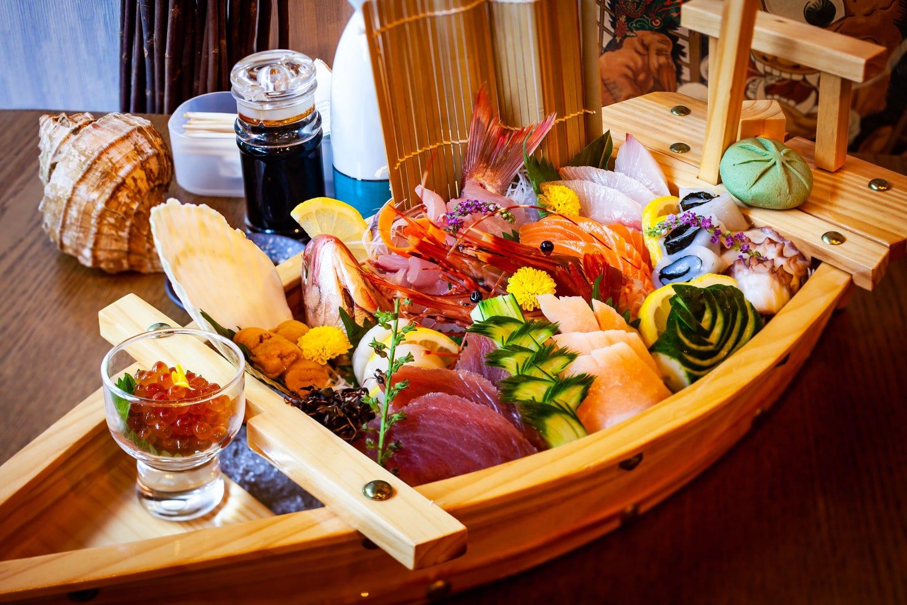 fresh sashimi boat platter