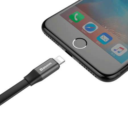 gunmetal charging cable with iPhone