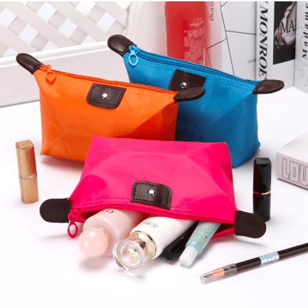 orange pink and blue nylon cosmetic bag