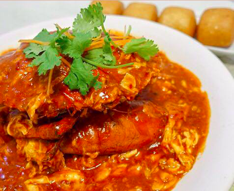 red and spicy chilli crab with gravy