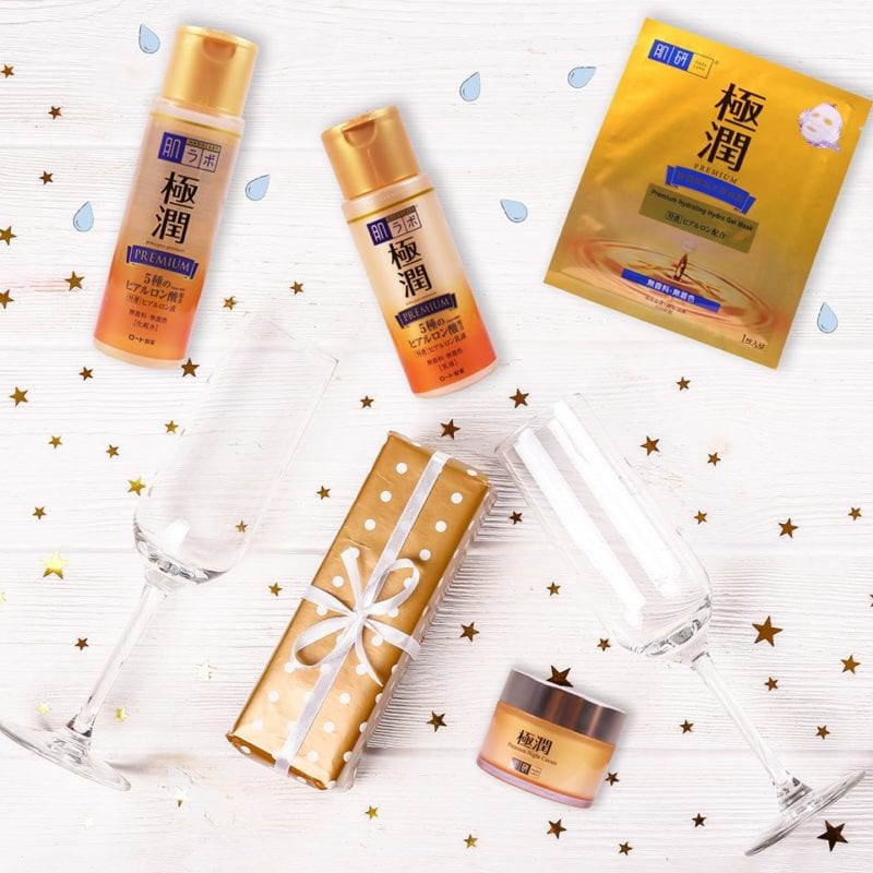 golden orange bottles of skincare