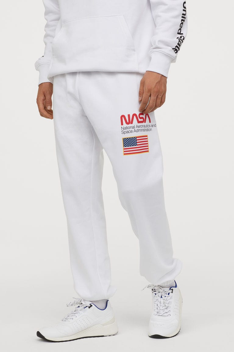 printed white sweatpants