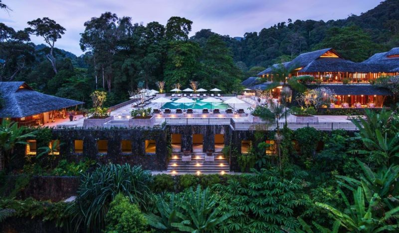 drone image of the datai resort in langkawi at dusk