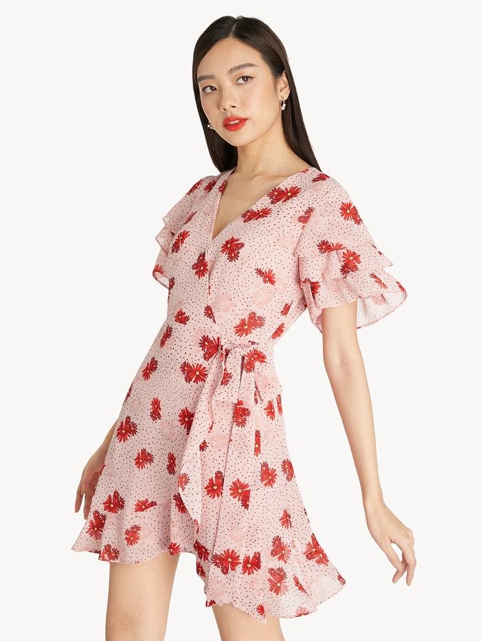 asian model in blush pink floral tie waist dress