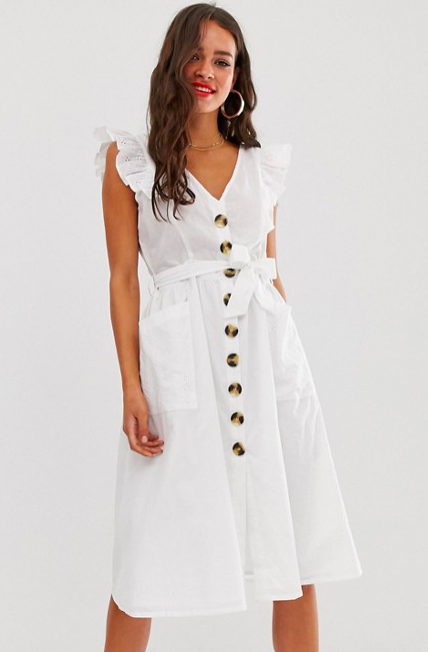model wearing white button through sundress with frill sleeves