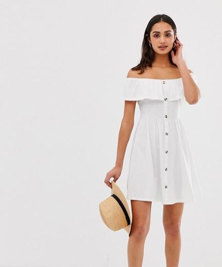 mini button through sundress in white